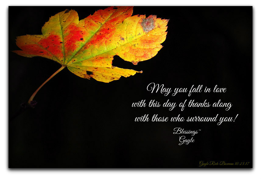 Autumn Leaf with Thanksgiving message