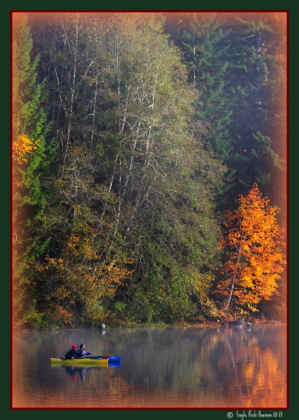 Kayak on Fishhawk Lake in the fall-photo by Gayle Rich-Boxman