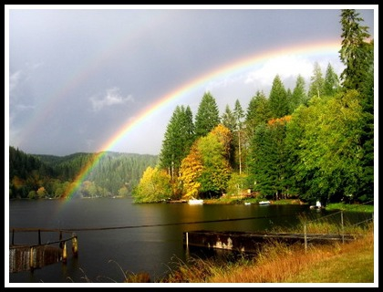 Rainbows on the spillway-photo by Gayle Rich-Boxman