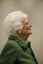 On Thursday, January 29, 2015, Barbara Bush reads to College Station students in grades 3-8 live via video conference at the Annenburg Conference Center.
