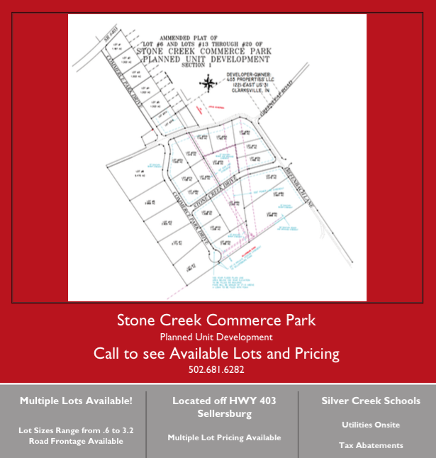 Stone creek commerce park multiple lots available for Stone creek development