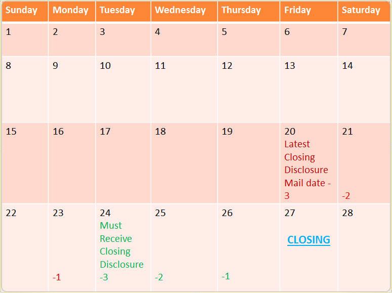 Closing Disclosure Calendar | Calendar Template 2016