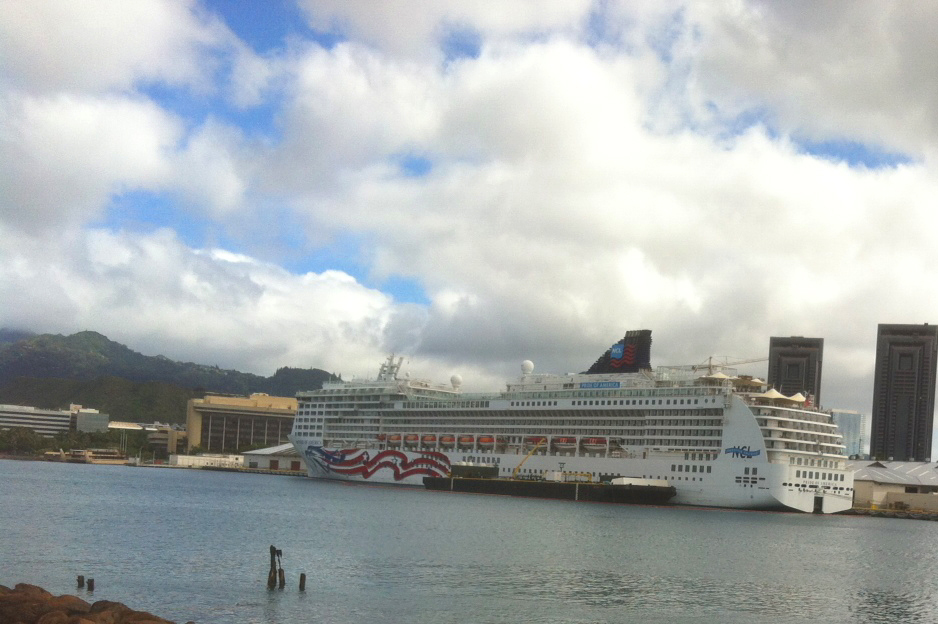 Interisland Cruise Ship docked in Honolulu Harbor