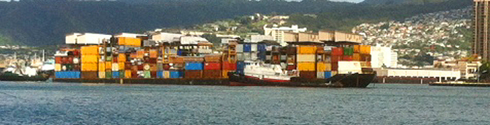 Interisland container ship docking at Honolulu Harbor