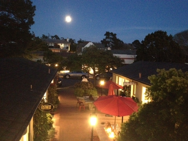Full Moon at Rothwell Realty office in Su Vecino Court, Carmel-by-the-Sea
