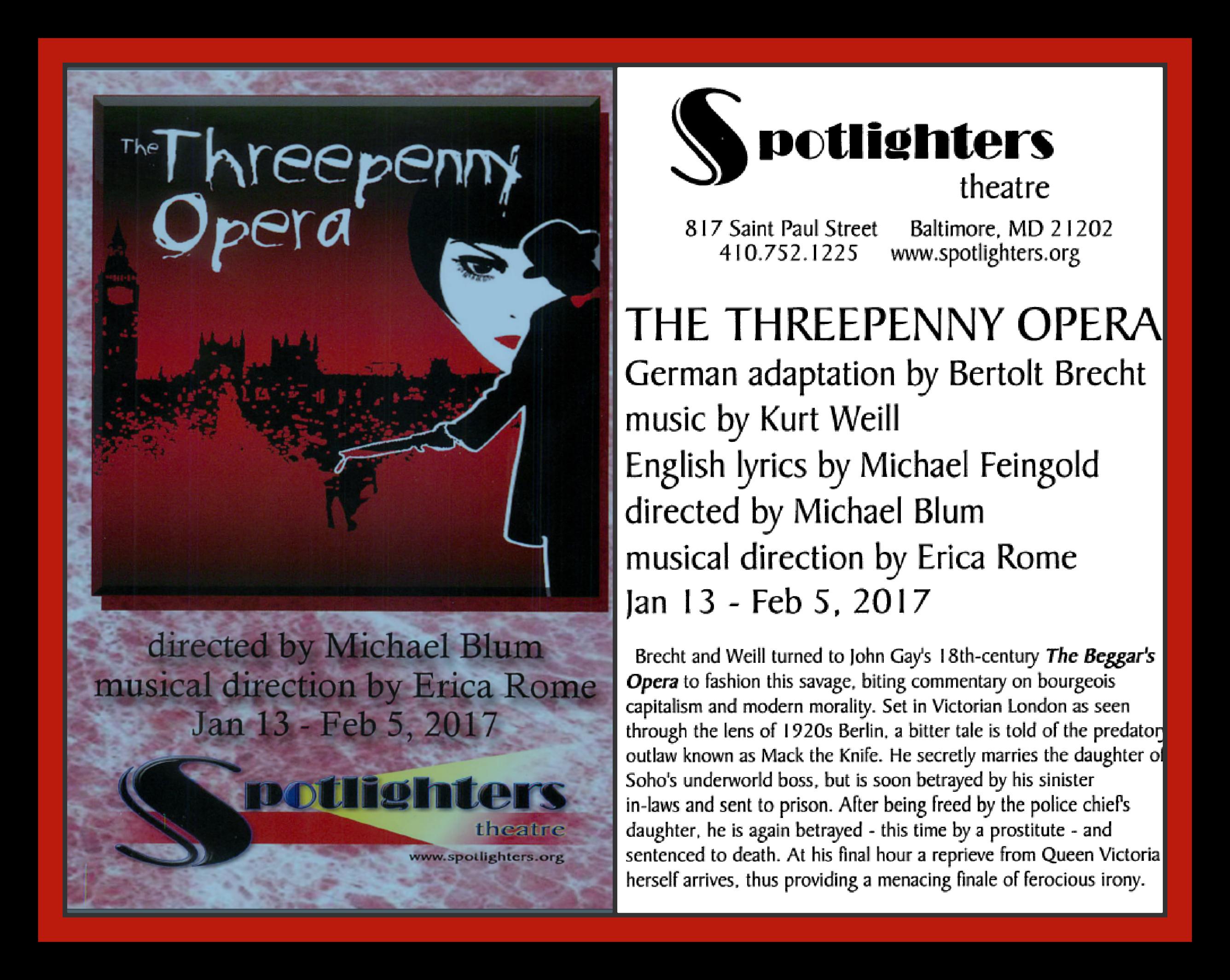 Threepenny Opera Erica Rome Music Director