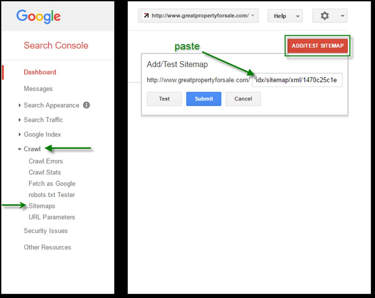 establish a real estate site in google search console