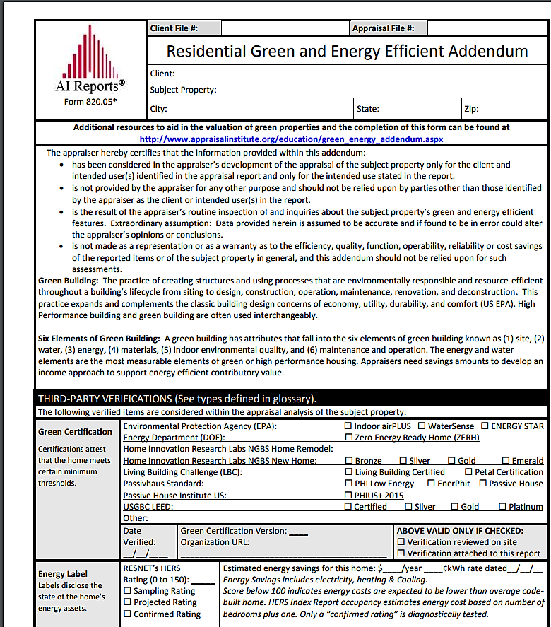 Residential Green & Energy Efficient Addendum