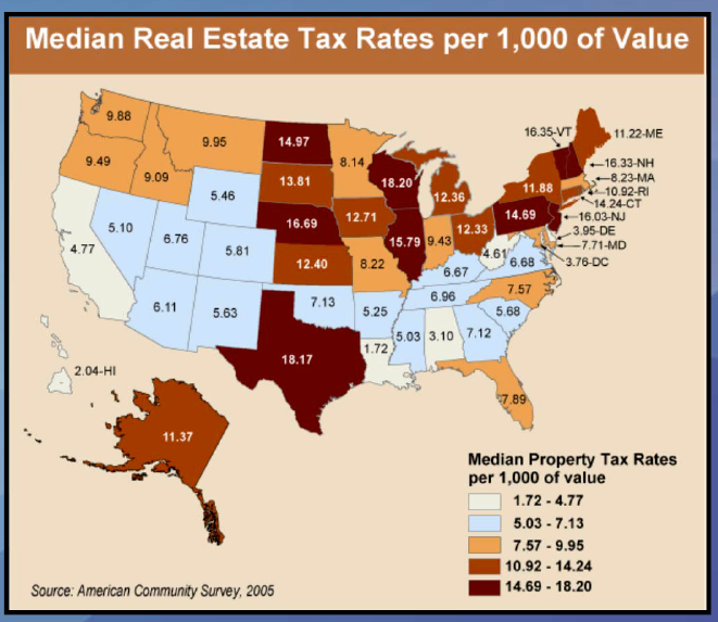 Property Tax Map for U.S.