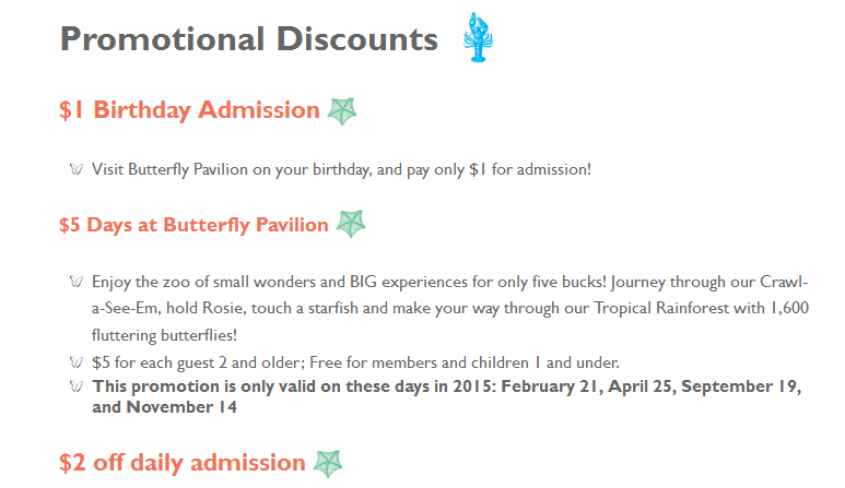 Butterfly pavilion westminster co coupons