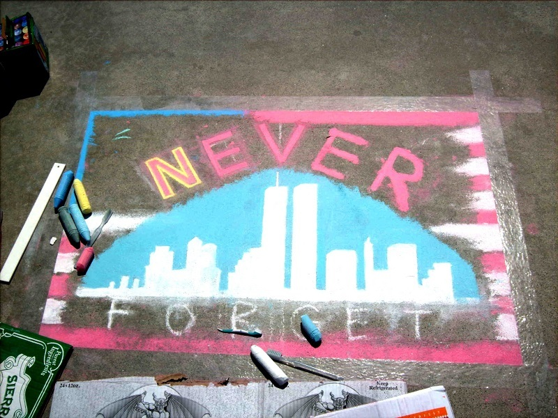 9/11 chalk art in Carlsbad