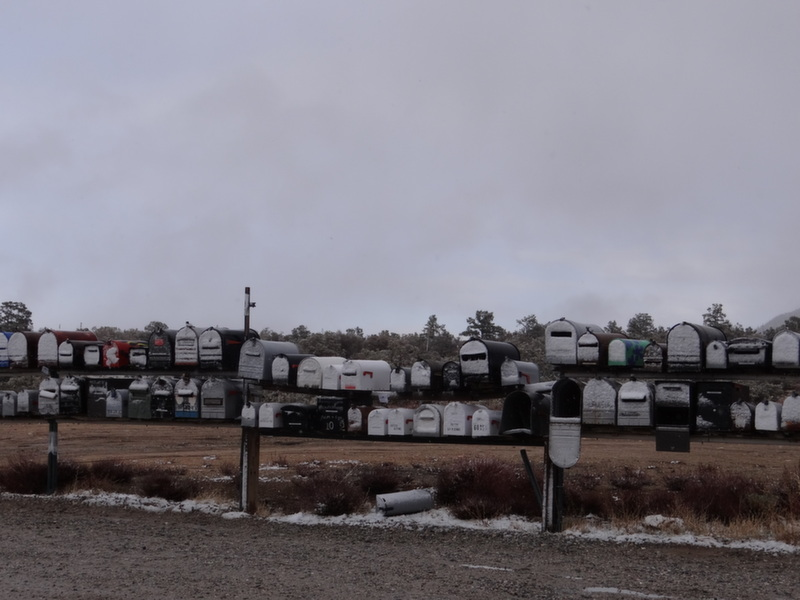Rural Mailboxes in the Snow in California mountains