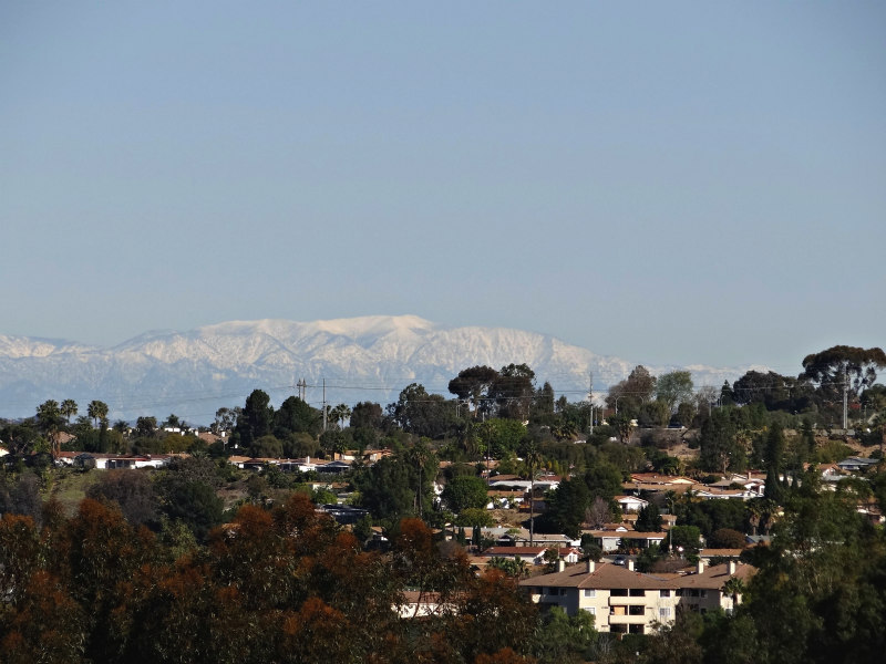 Snow on mountains seen from Carlsbad