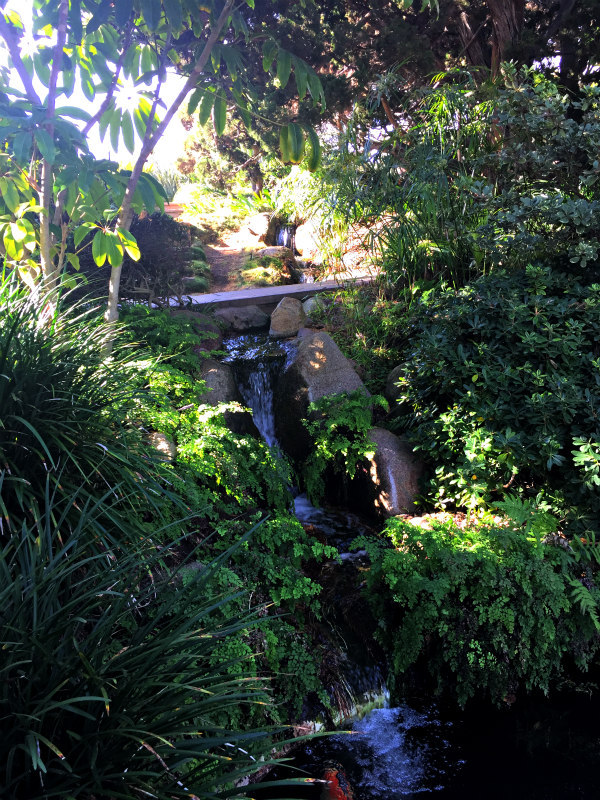 waterfall at the Meditation Gardens