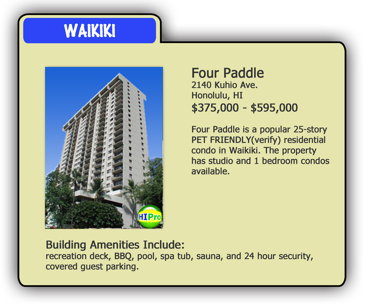 Four Paddle - Pet Friendly Condo Card - HI Pro Realty LLC
