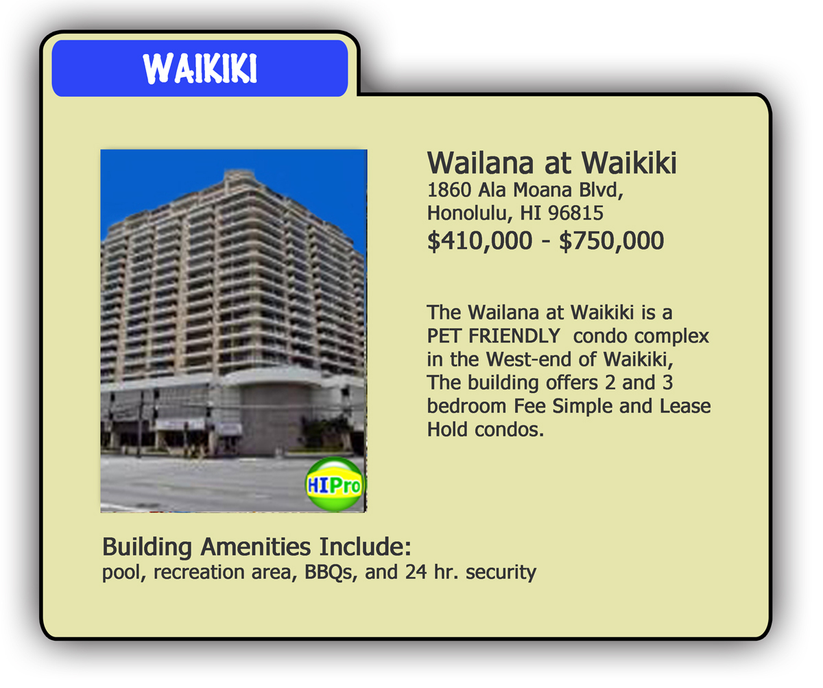 Wailana at Waikiki Pet Friendly Condo Card - HI Pro Realty LLC