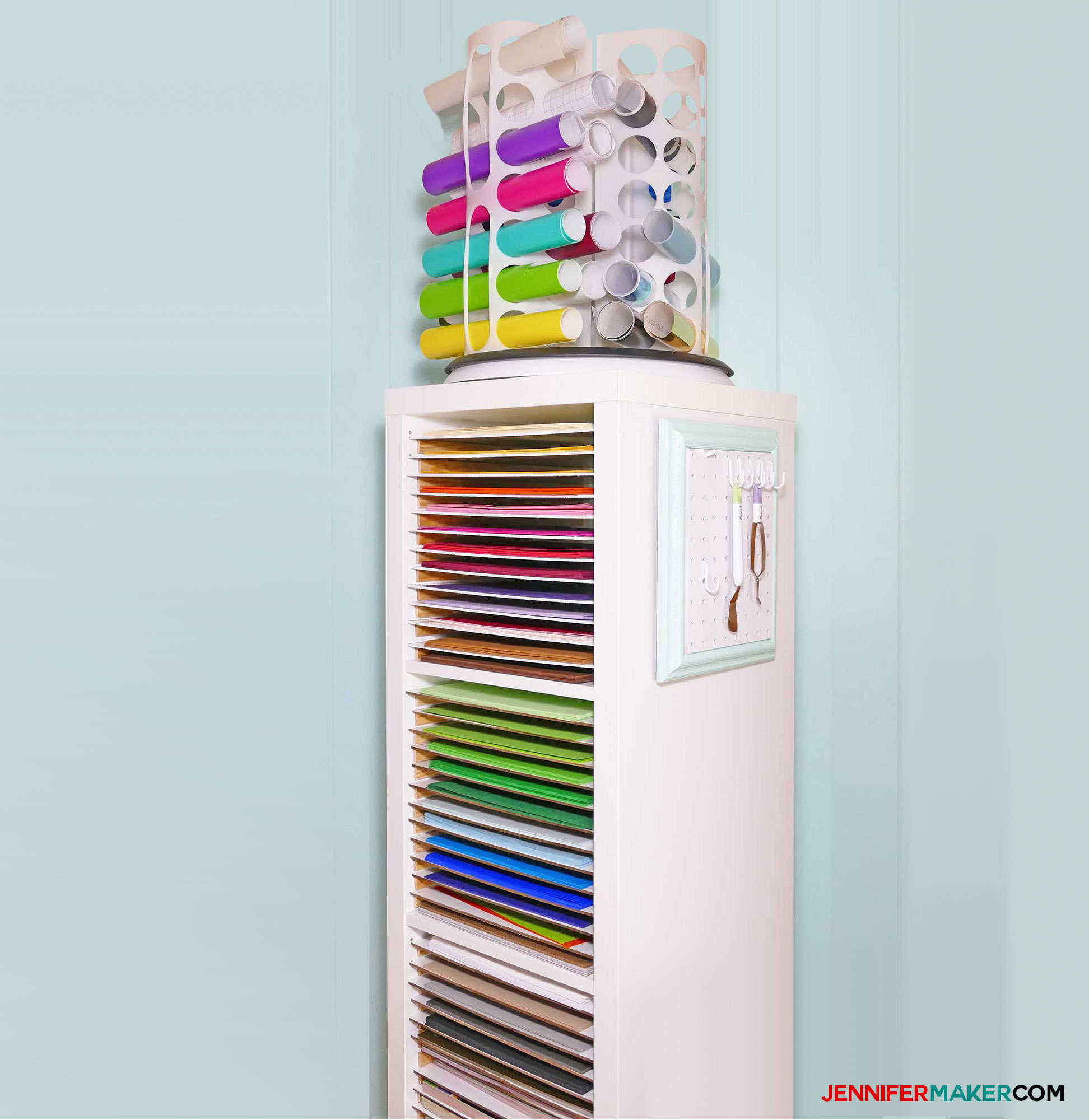 White paper storage tower filled with colorful paper