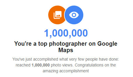 Million photo views for Jim Paulson on Google Maps