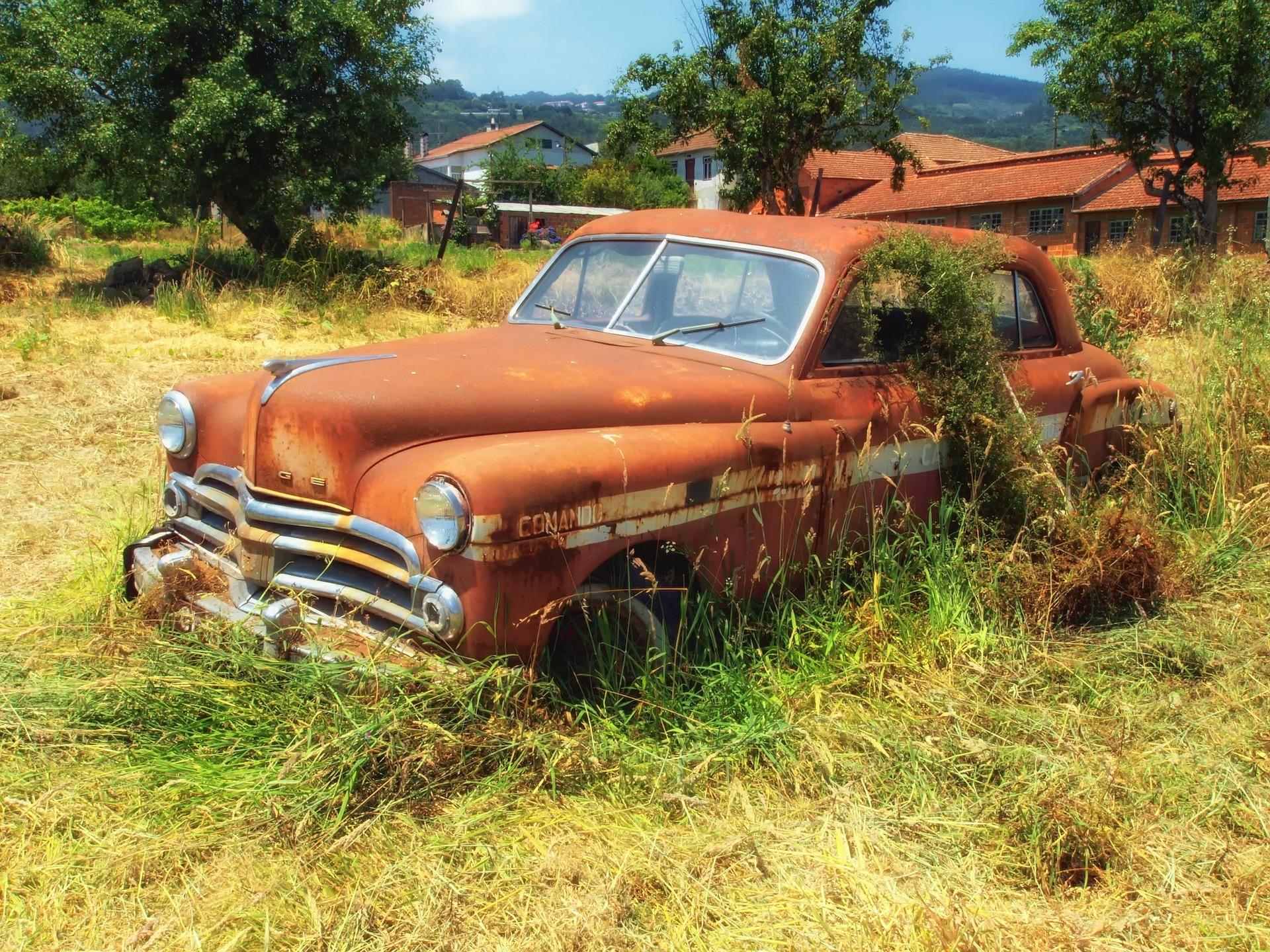 old car in yard
