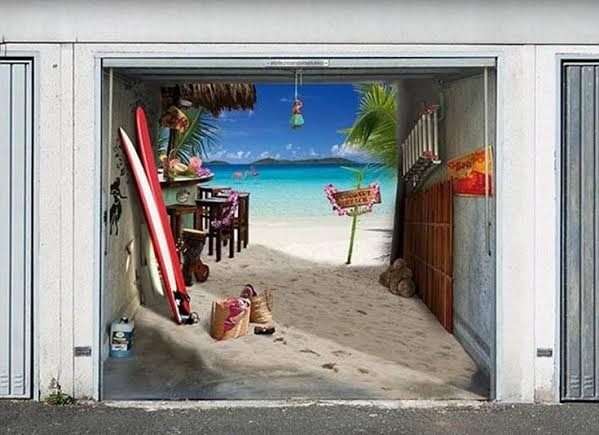 Party at beach in garage
