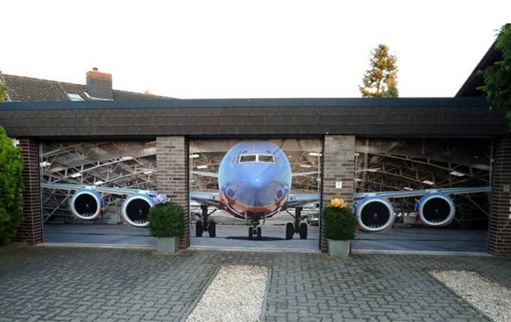 Airplane in garage