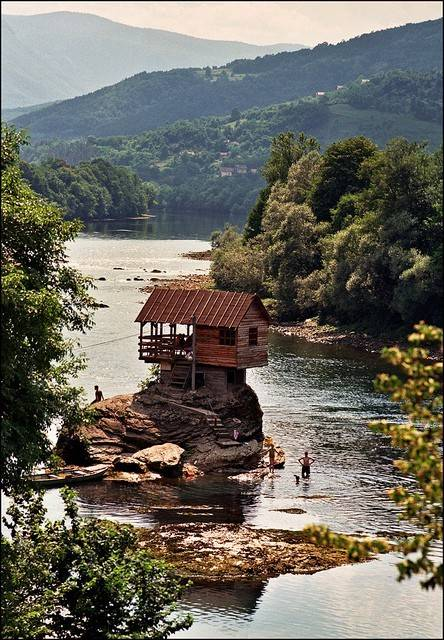 home built on a river