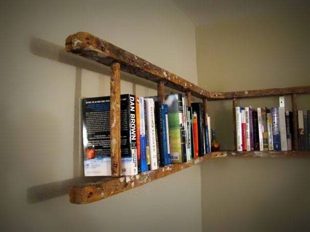 recycle ladder into book shelf