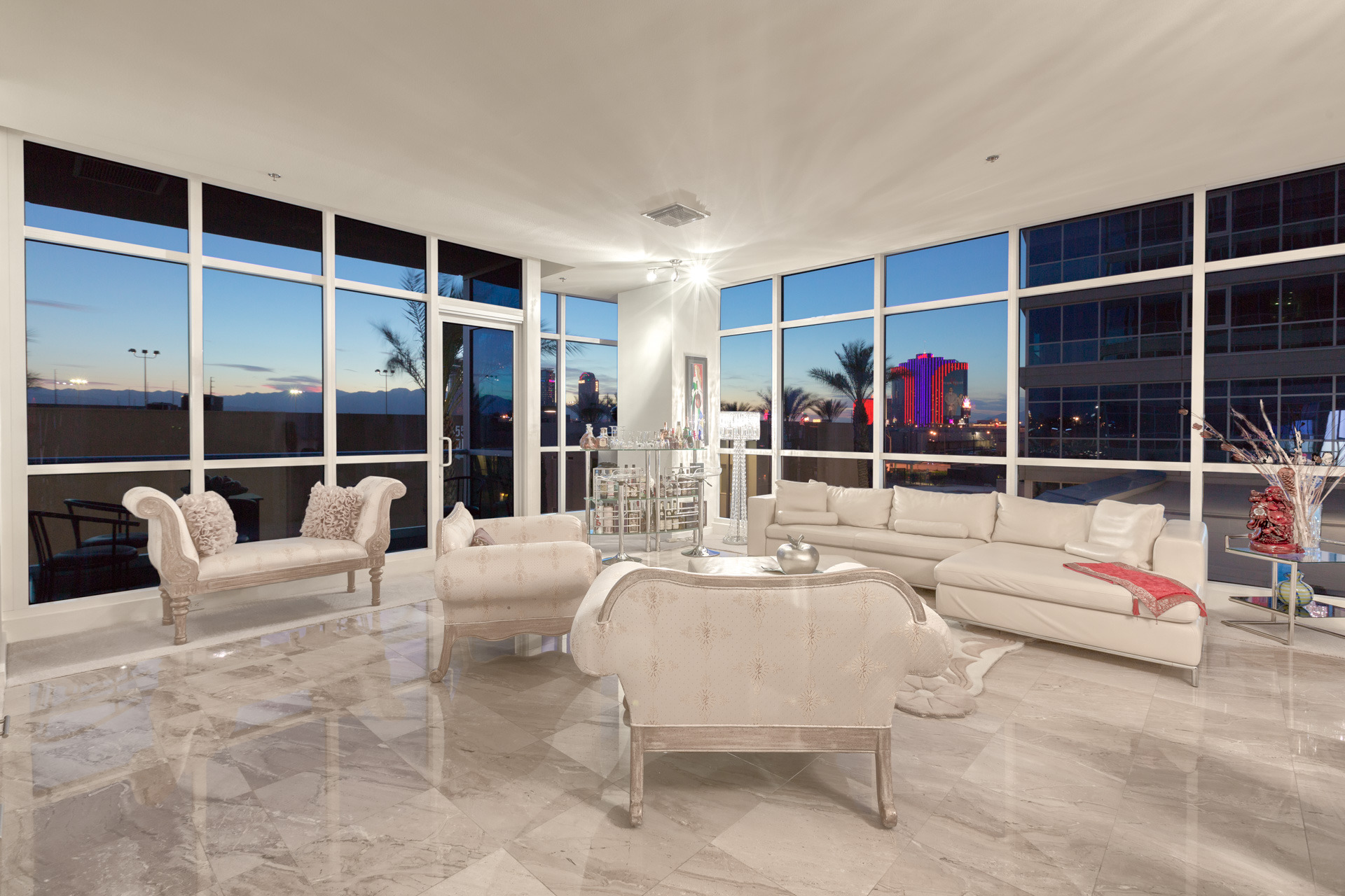 Livivn Room of # 307 in Tower 2 of Panorama Towers Las vegas Guard gated High Rise Condo Living Near the Strip.  702 236 8364.