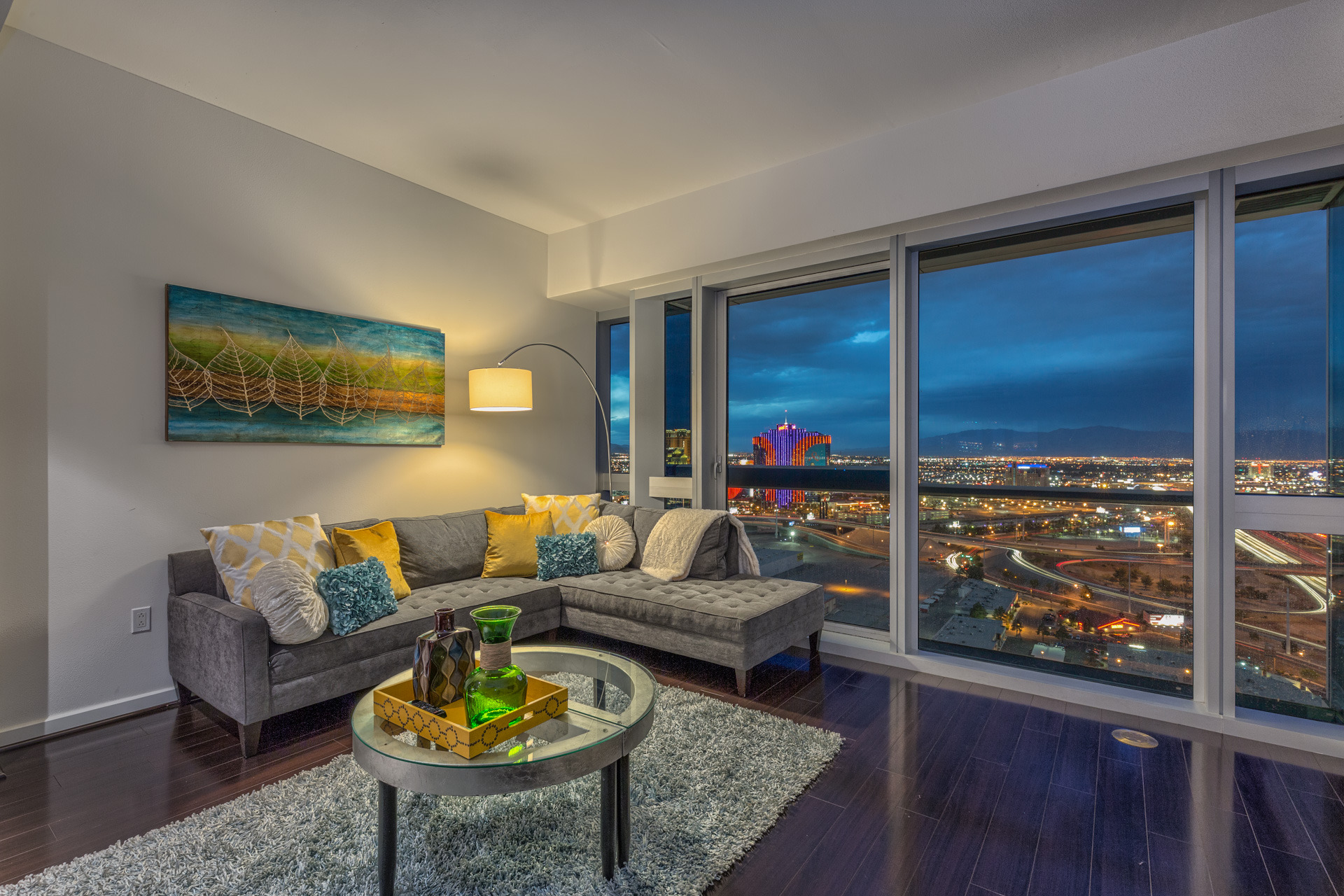 The Martin Las Vegas Condo # 3004 Living Room with North Strip Views