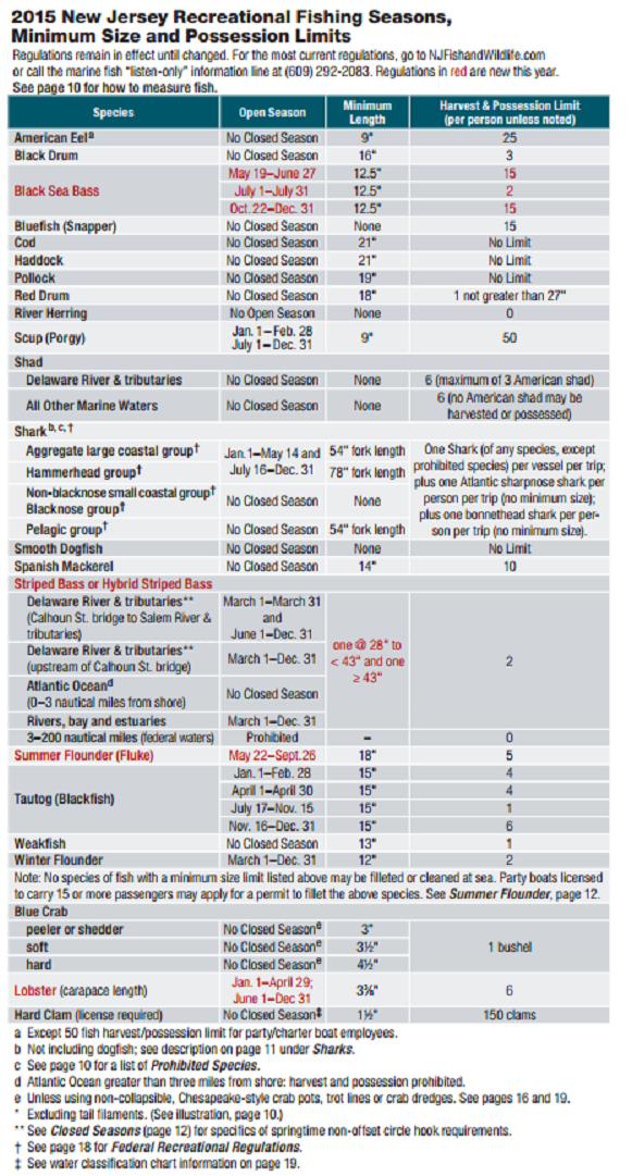 2015 nj fishing limits marine digest for New jersey saltwater fishing regulations