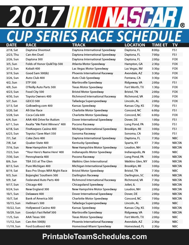 This is a photo of Epic Printable 2020 Nascar Schedule