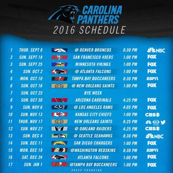 The Carolina Panthers 2016 Schedule Is Here!