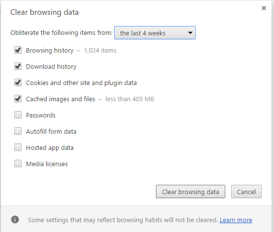 This screen will give you options to what you would like to remove from your browsing history. If you are unsure of what to delete, don't delete it before you google what i t