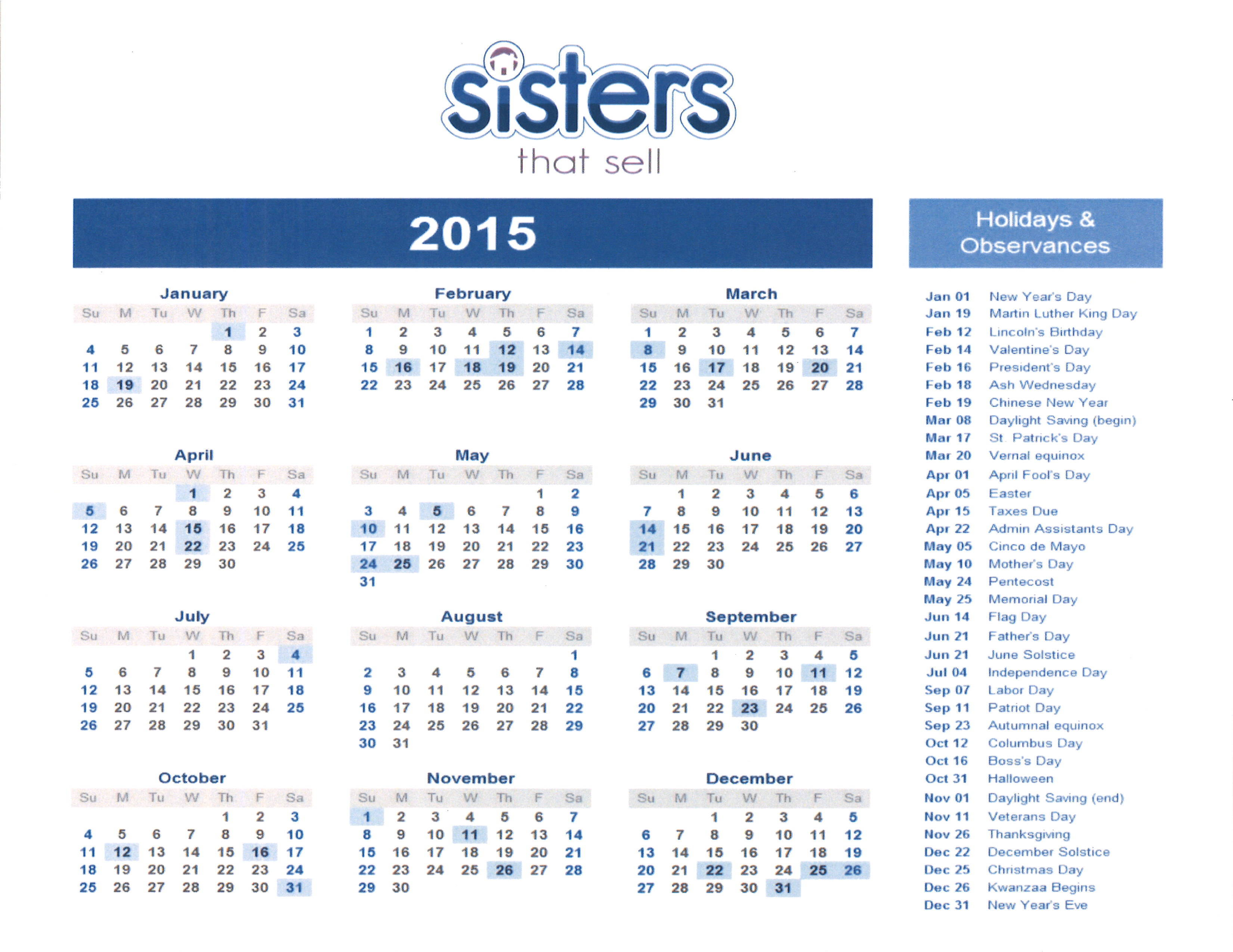 Sisters That Sell calendar