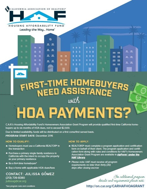 California HOA Assistance Program for First Time Buyers