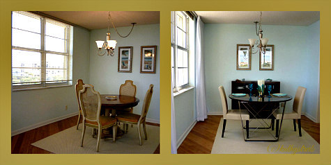 staging- before and after- dining room