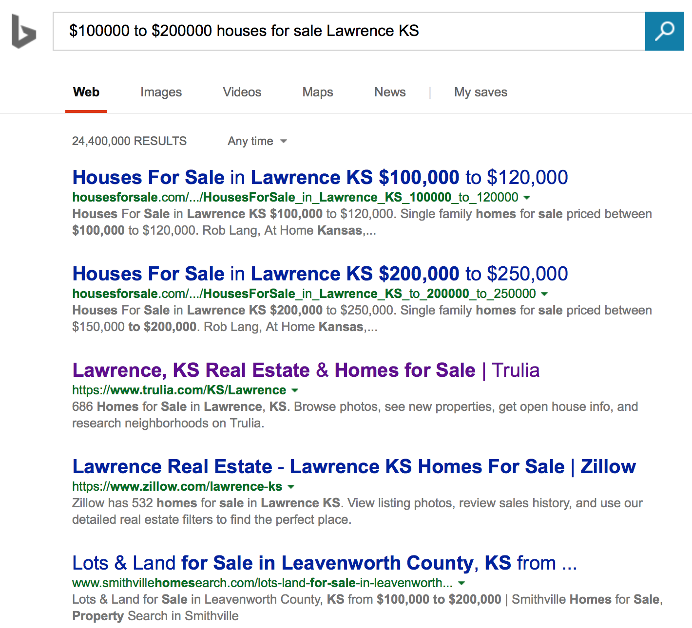 Houses For Sale Number 1 on Bing