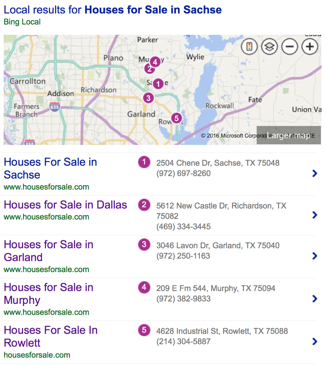 HousesForSale.com #1 on Bing