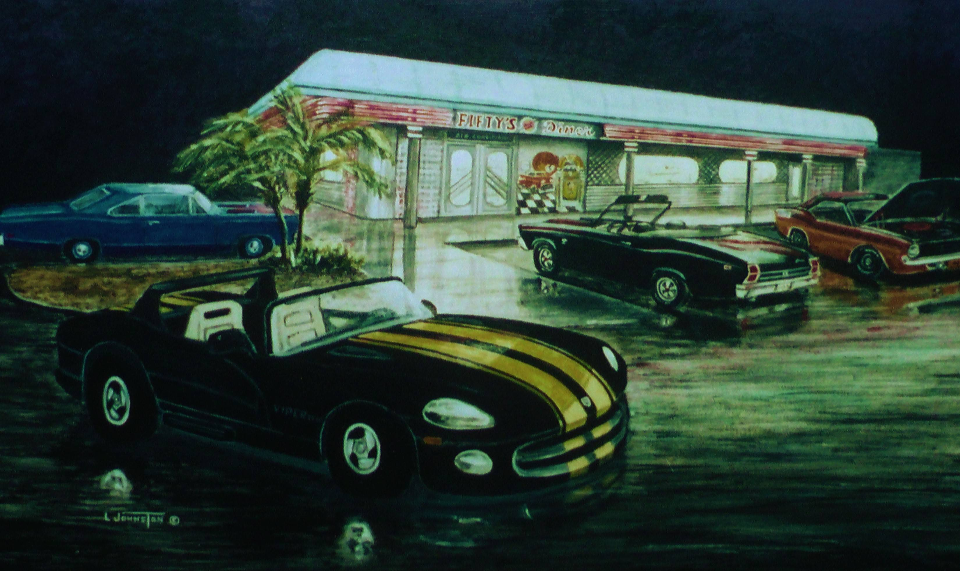 History of a painting the 50s diner for Diner painting