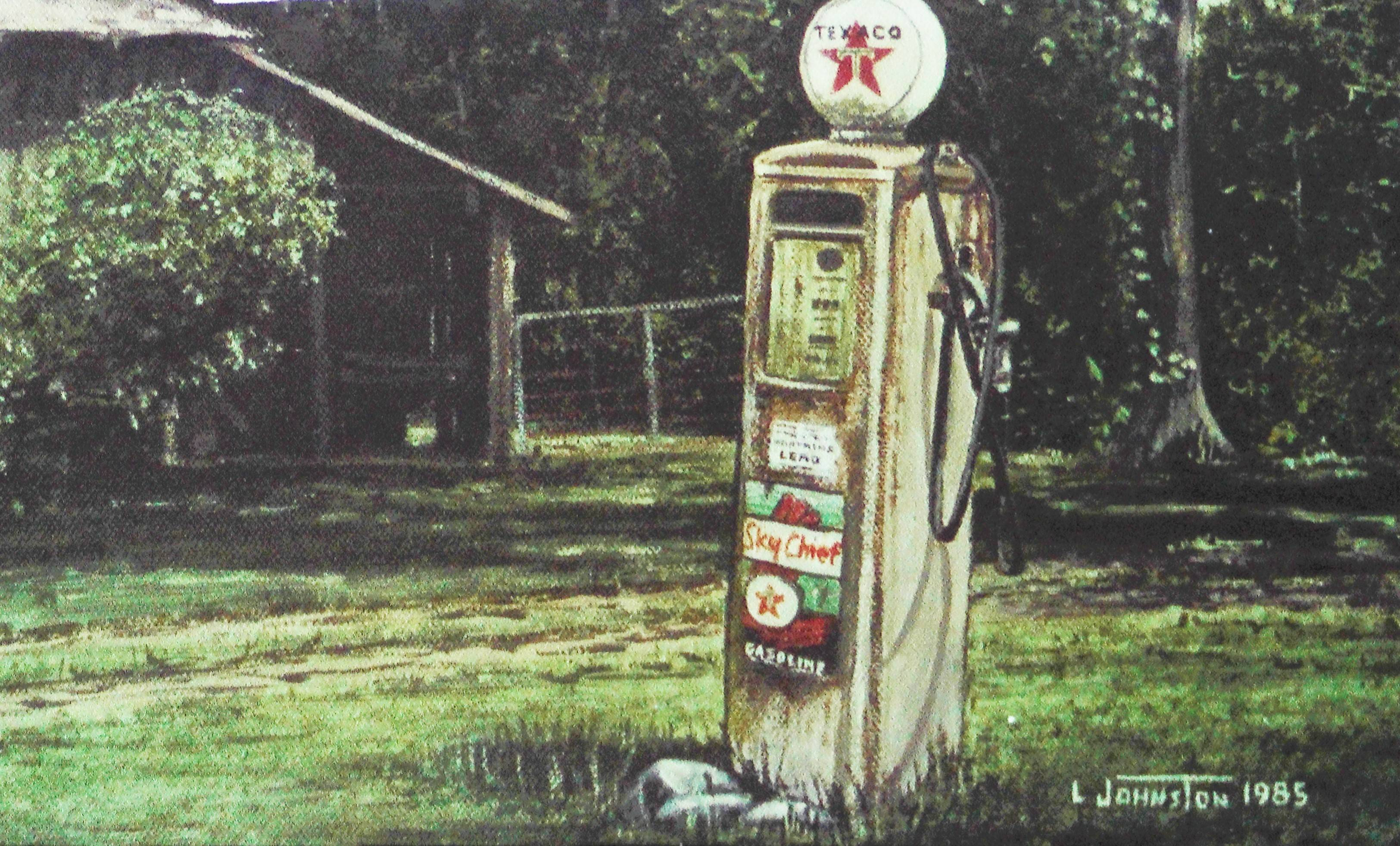 History of a Painting - Brown Barn with Texaco pump