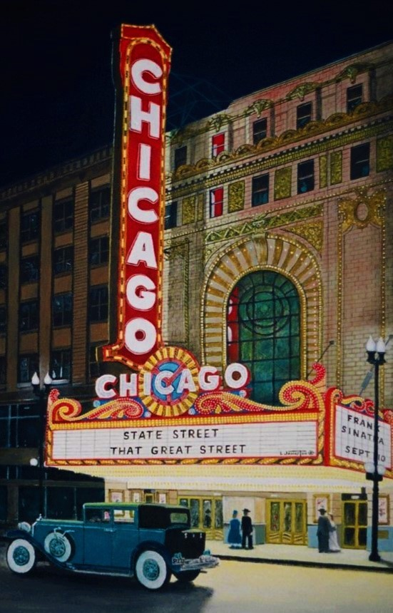 history of a painting the chicago theatre downtown ch
