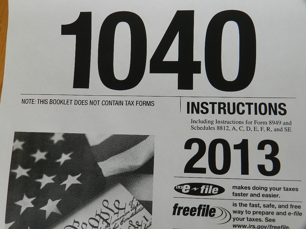 2013 Tax 1040 Instruction Cover