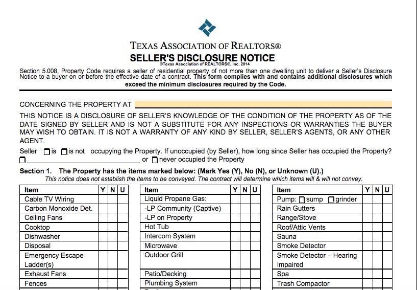 Texas Seller Disclosure Notice For Homes