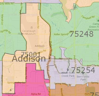 Addison Zip Code Map | Zip Code MAP