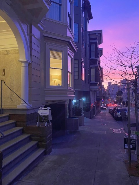 sunset from Sacramento St, Nob Hill, SF