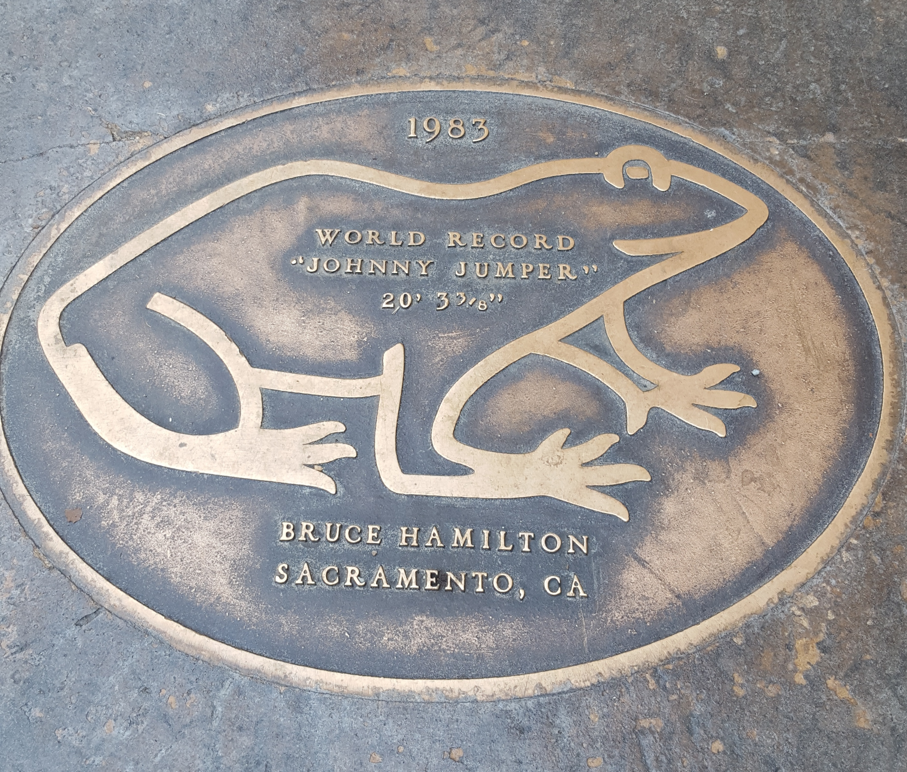 Jumping frog plaque.Angel's Camp, CA
