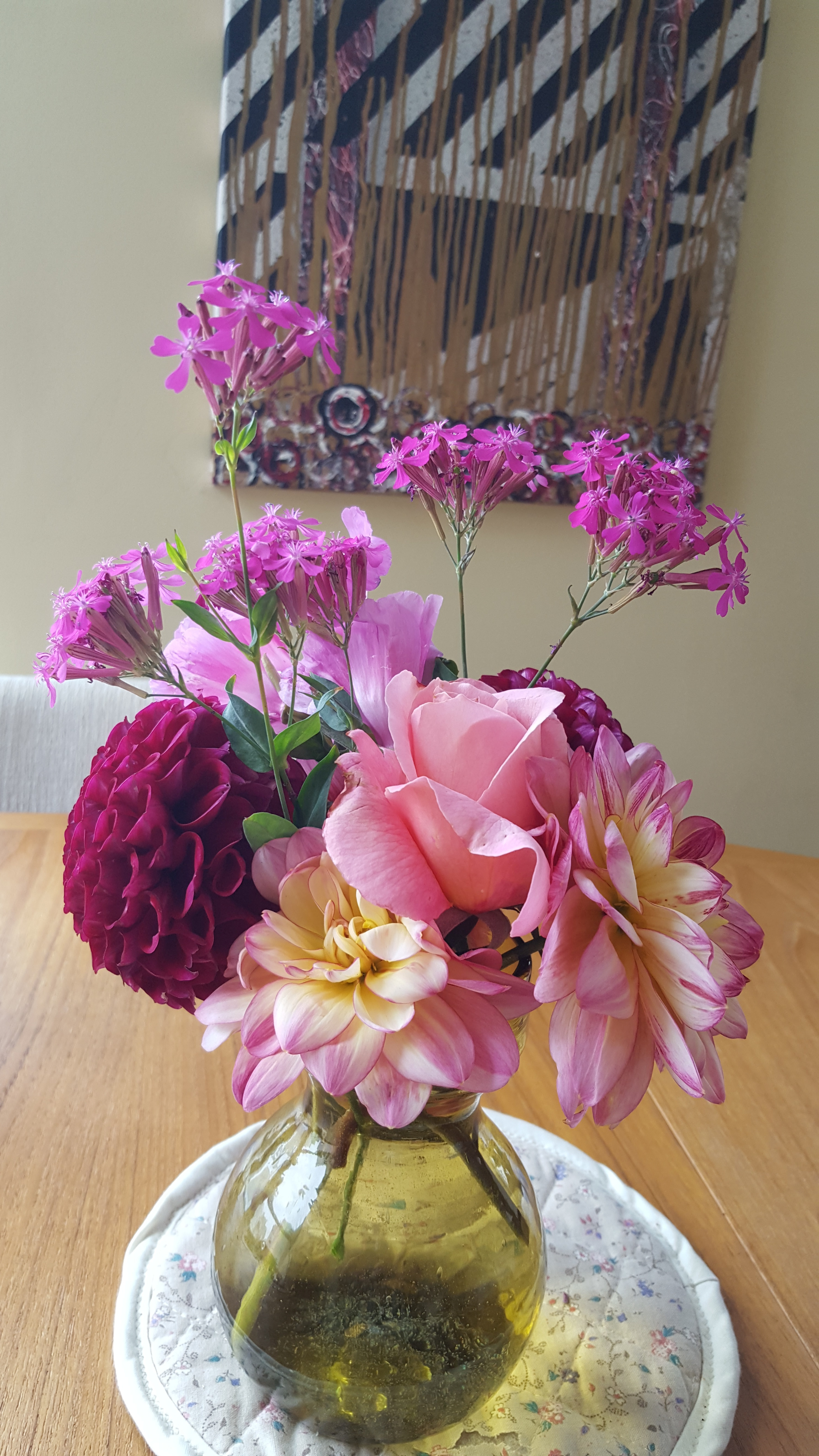 Flower bouquet from FMCG, pink and purple