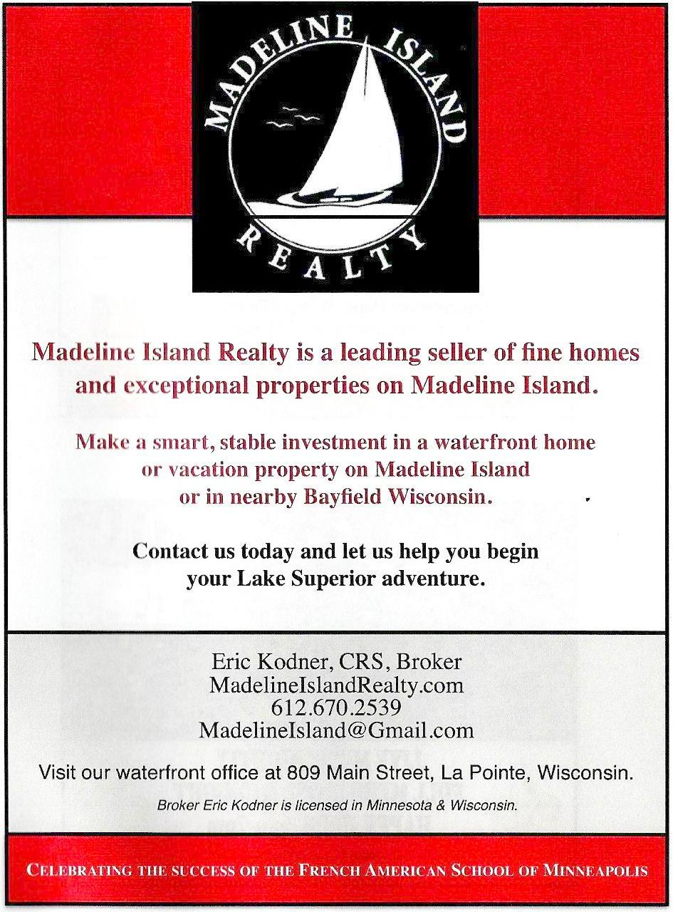 Madeline Island Realty Ad - French American School of Minneapolis Gala Program