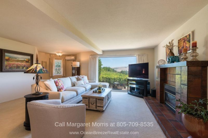 Homes in Arroyo Grande CA - Enjoy the spectacular hills and vineyard view waiting for you in the living room of this Arroyo Grande CA home for sale.