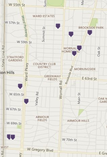 open houses on map